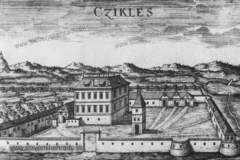 Bernolákovo - Kaštieľ v Bernolákove, Medirytina a lept M Greischera (?), Asi 1680