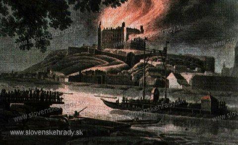 Bratislavský hrad - horiaci hrad v roku 1811