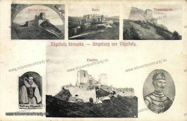 Čachtický hrad - pohľadnica s viacerými hradmi