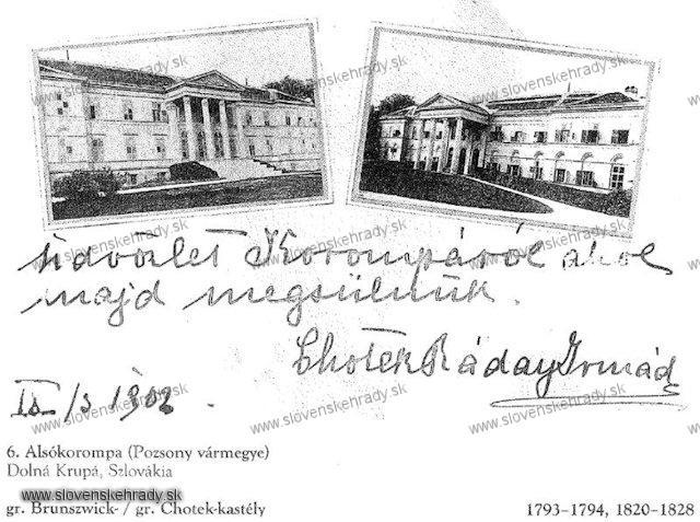 Dolná Krupá - klasicistický kaštieľ - sken z knihy Régvolt Magyar Kastélyok