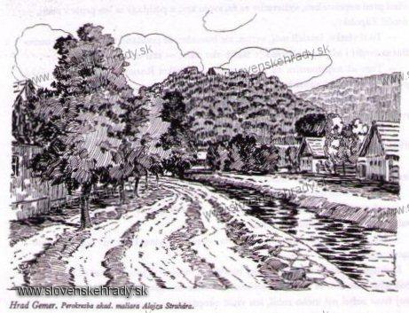 Gemerský hrad - perokresba akad. maliara Alojza Struhára