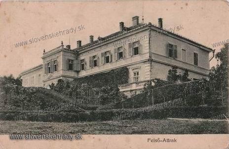 Horné Otrokovce - barokovo-klasicistický kaštieľ v roku 1910<br>Zdroj: www.aukro.sk