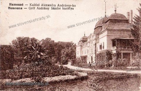 Humenné - kaštieľ na pohľadnici z roku 1922<br>Zdroj: www.aukro.sk