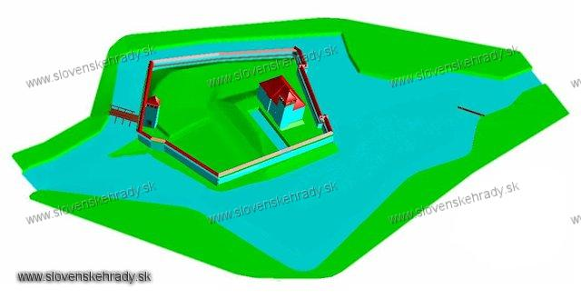 Idiansky hrad - 3D pri úplnom zaplavení terénu