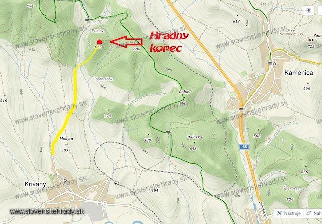 Hrádok Krivany - mapa na kopec