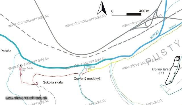 Peťuša - cesta na hrad