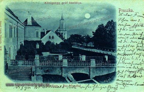 Pruské - kaštieľ na pohľadnici zo začiatku 20.storočia
