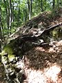 Rajec - pohľad zhora na fragment muriva s klenbou
