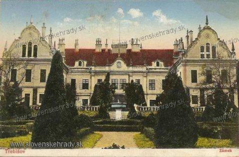 Trebišov - barokovo-klasicistický, empírovo-neorenesančne upravený kaštieľ v roku 1935